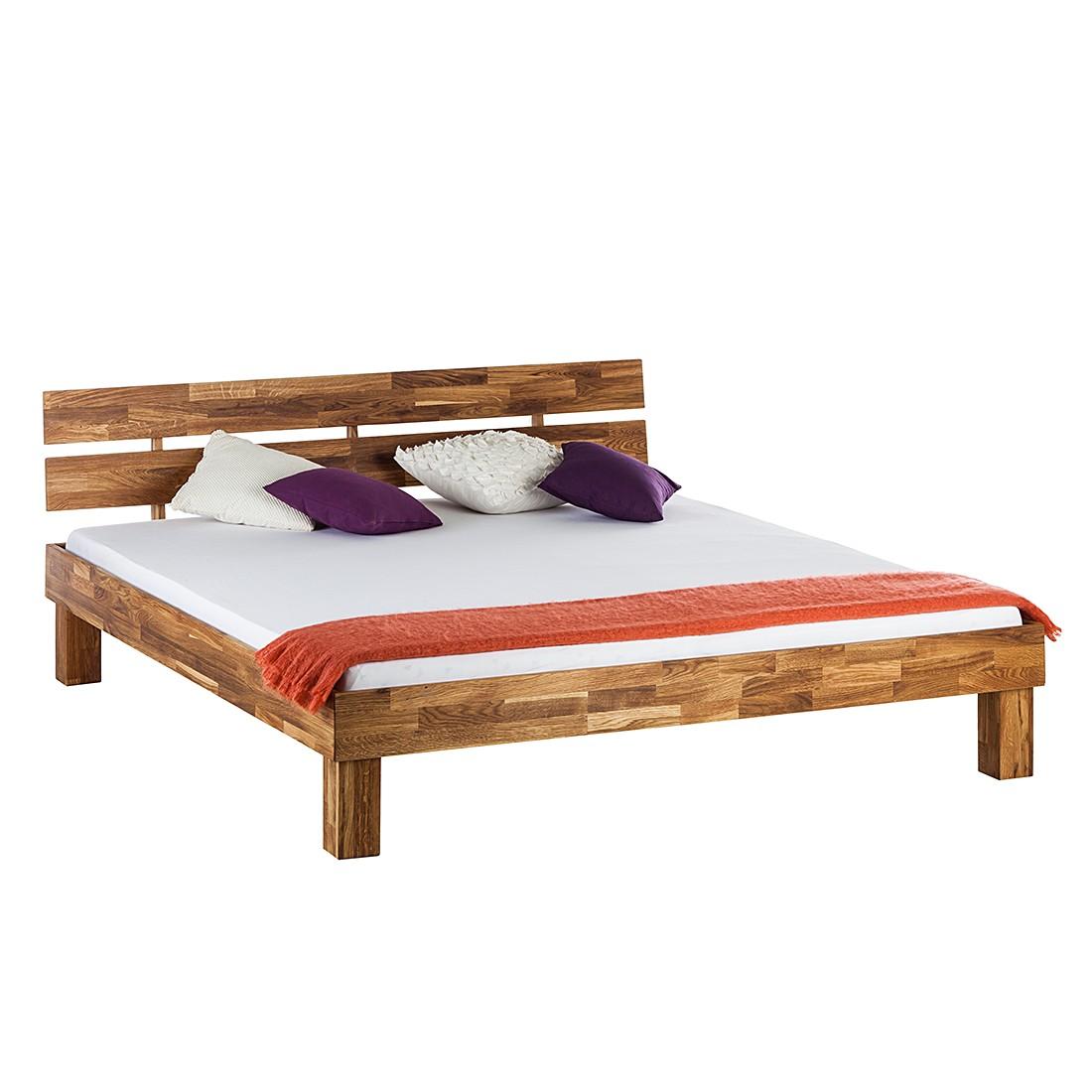 goedkoop Massief houten bed AresWOOD 140 x 190cm Met hoofdeinde Eikenhout Ars Natura
