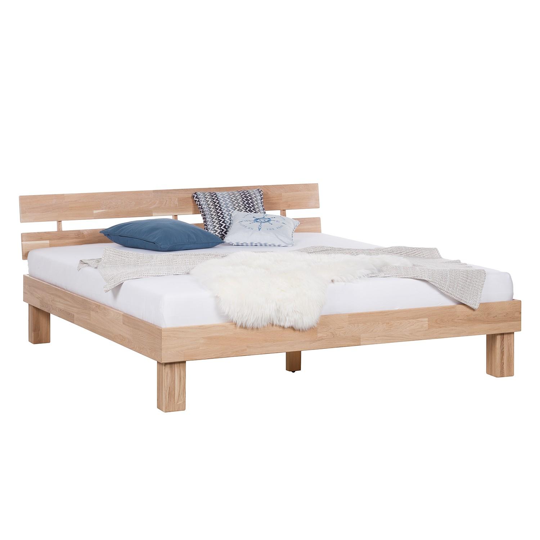 goedkoop Massief houten bed AresWOOD 160 x 200cm Met hoofdeinde Wit geolied eikenhout Ars Natura