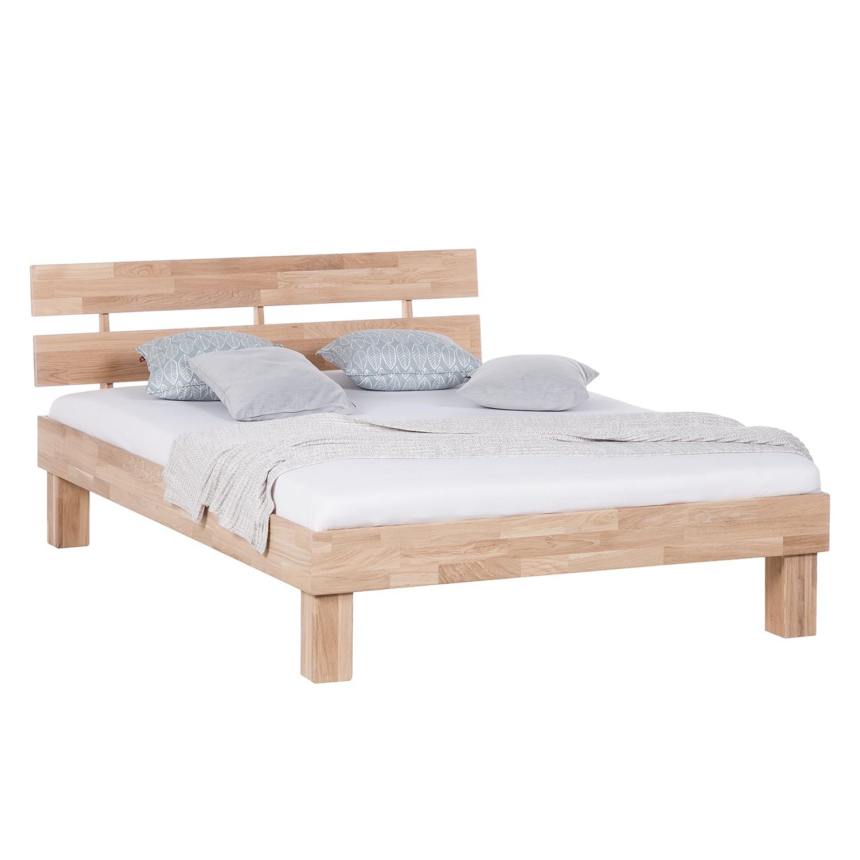 goedkoop Massief houten bed AresWOOD 120 x 200cm Met hoofdeinde Wit geolied eikenhout Ars Natura