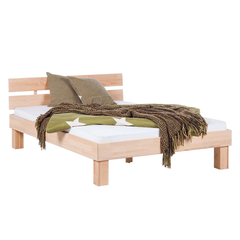 goedkoop Massief houten bed AresWOOD 140 x 200cm Met hoofdeinde Wit geolied kernbeukenhout Ars Natura
