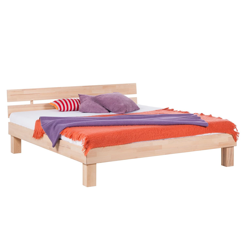 goedkoop Massief houten bed AresWOOD 160 x 200cm Met hoofdeinde Wit geolied kernbeukenhout Ars Natura