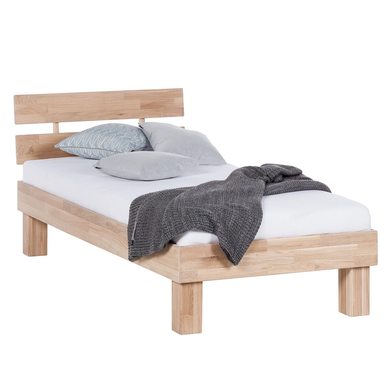 goedkoop Massief houten bed AresWOOD 90 x 190cm Met hoofdeinde Wit geolied eikenhout Ars Natura