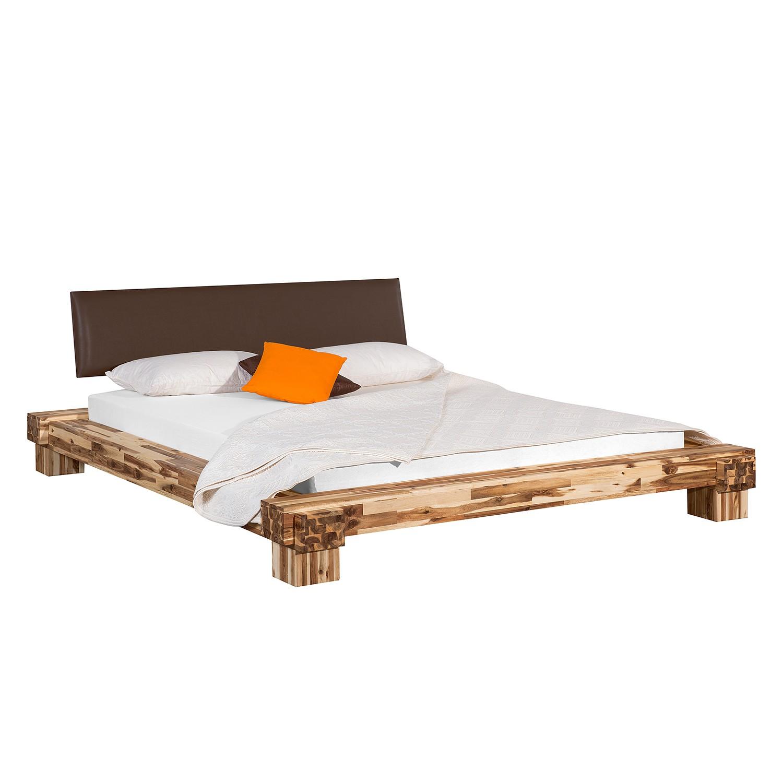 goedkoop Massief houten bed Cali III massief acaciahout kunstleer acaciahout bruin 180 x 200cm Neue Modular
