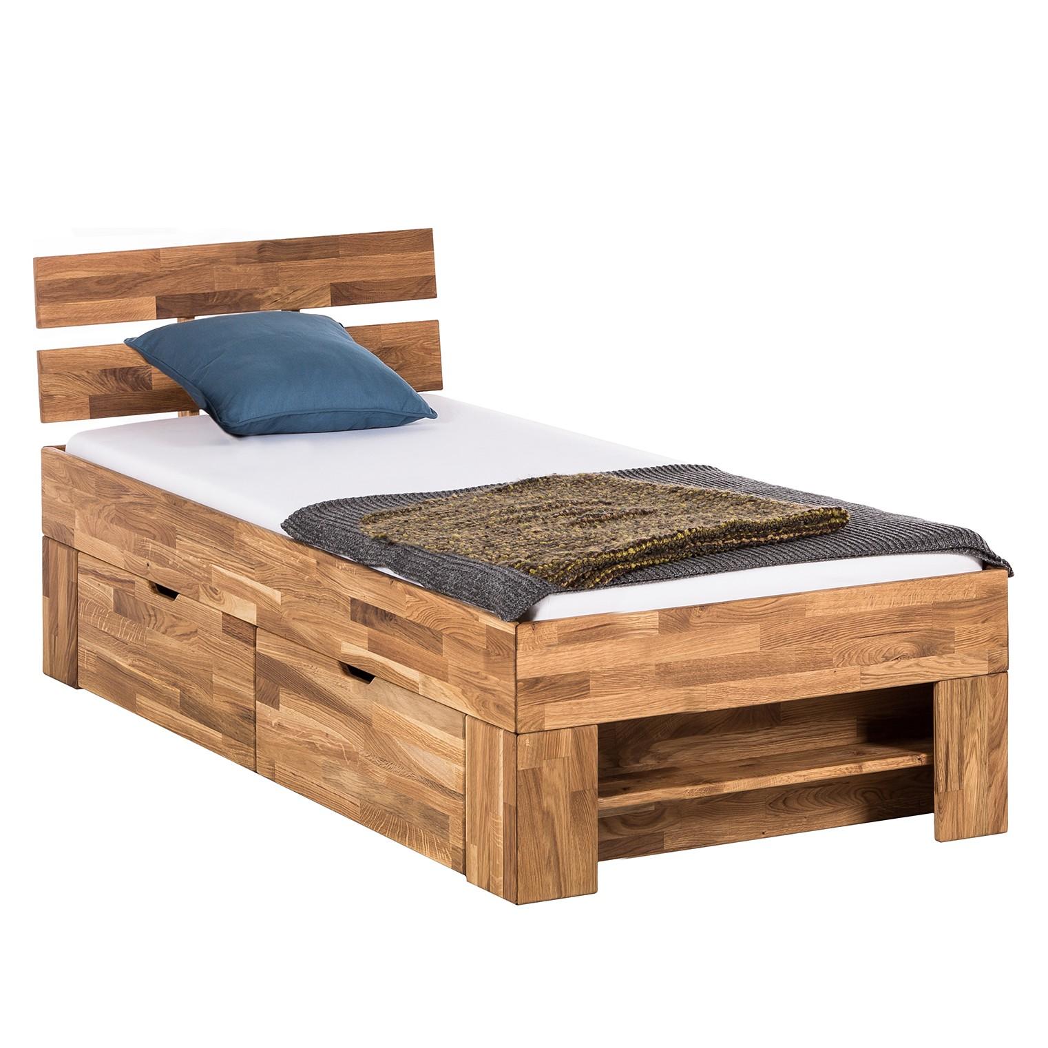 Massivholzbett EosWOOD (inkl. Bettkästen) - Eiche massiv - 90 x 200cm - Eiche, Ars Natura