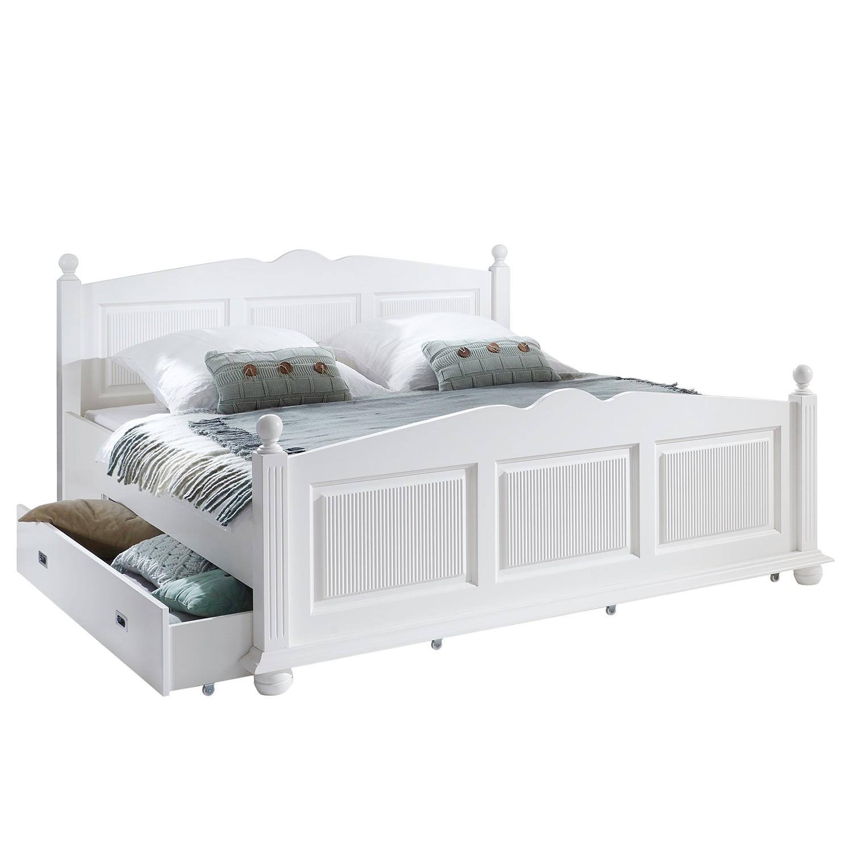 Lit en bois massif friedrich iii 180 x 200cm 2 tiroirs de for Lit meuble 2 personnes