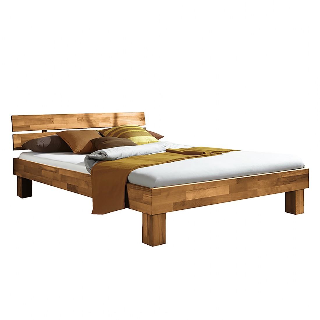 goedkoop Massief houten bed SonaWOOD geolied massief wild eikenhout 90 x 200cm Ars Natura