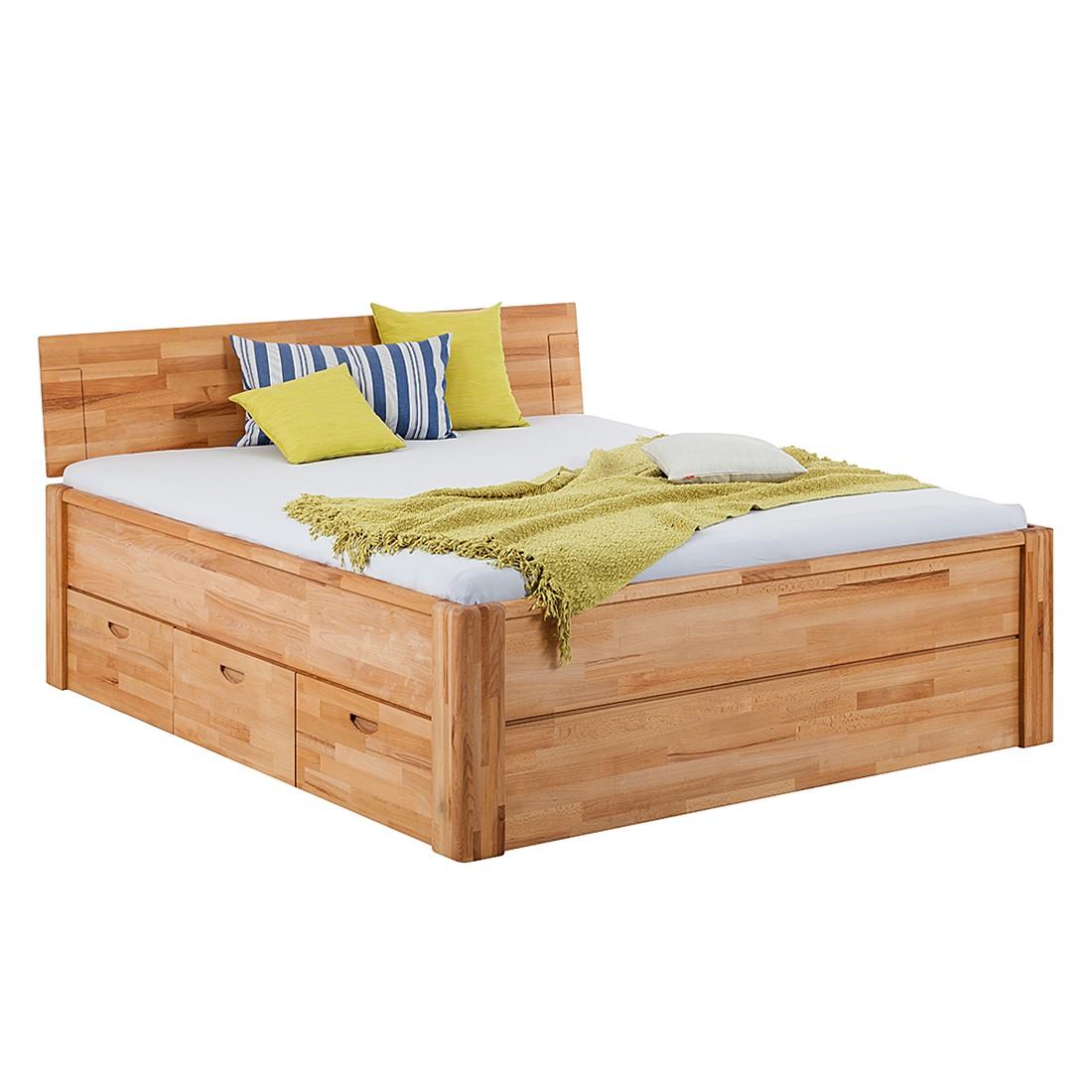 goedkoop Massief houten bed TiaWOOD incl. bedlades massief kernbeukenhout 200 x 200cm Ars Natura