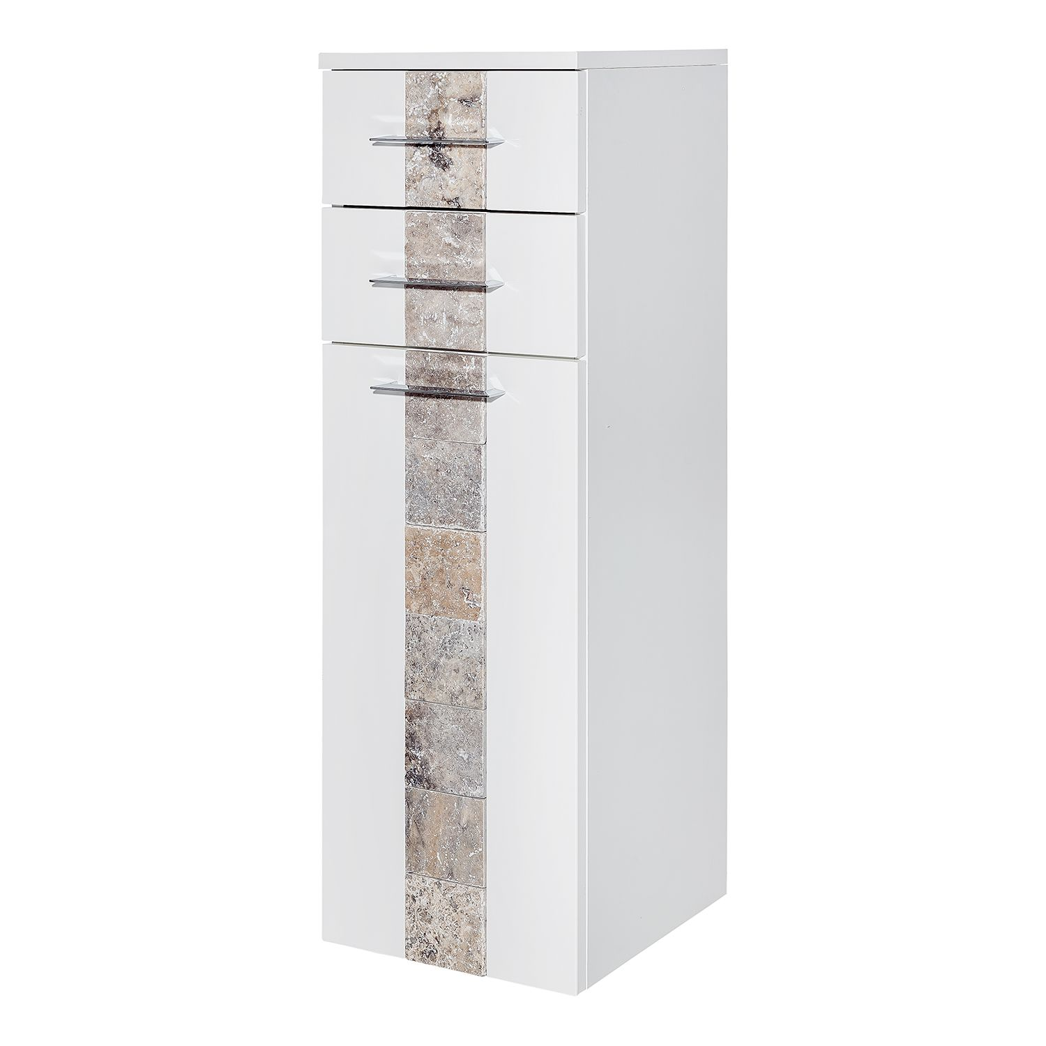 Armoire midi Stone - Blanc brillant / Granite, Schildmeyer