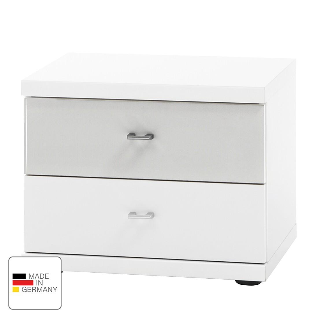 Comodino Miro - Bianco alpino/Color argento, Wiemann