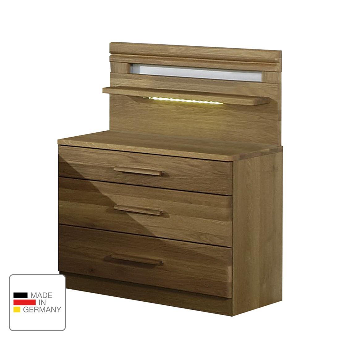 energia A+, Comodino Münster - Parzialmente in legno massello di quercia - Larghezza: 60 cm - Con pannello e illuminazione, Wiemann
