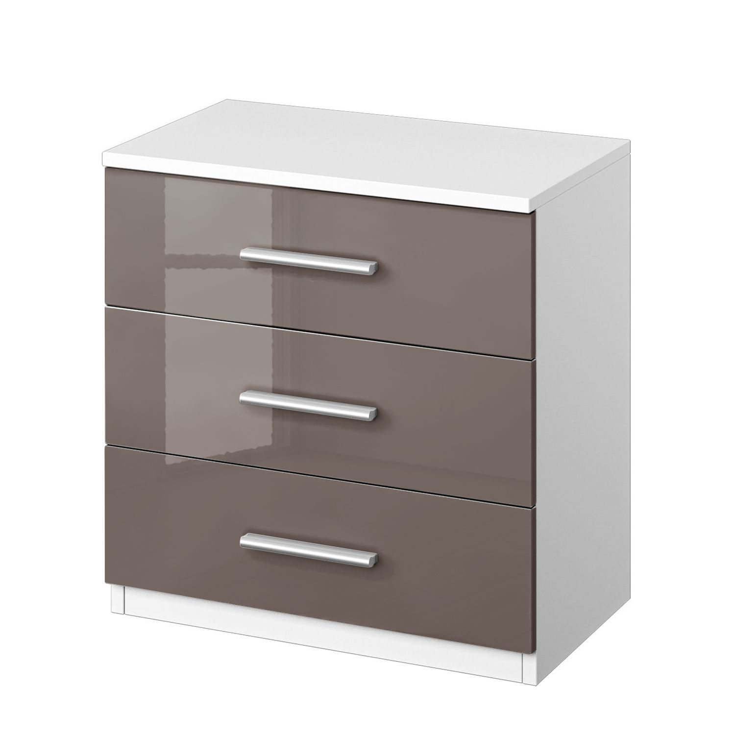 Comodino Celle I - Bianco alpino/Color grigio lava lucido, Rauch Packs