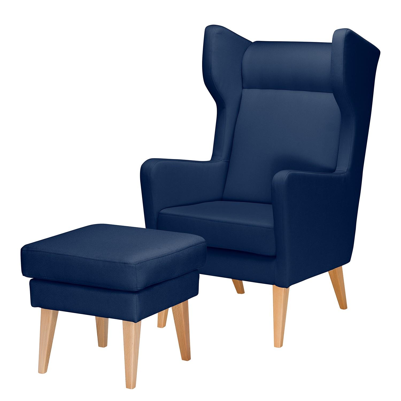 goedkoop Oorfauteuil Bucoli structuurstof Hocker Donkerblauw Morteens