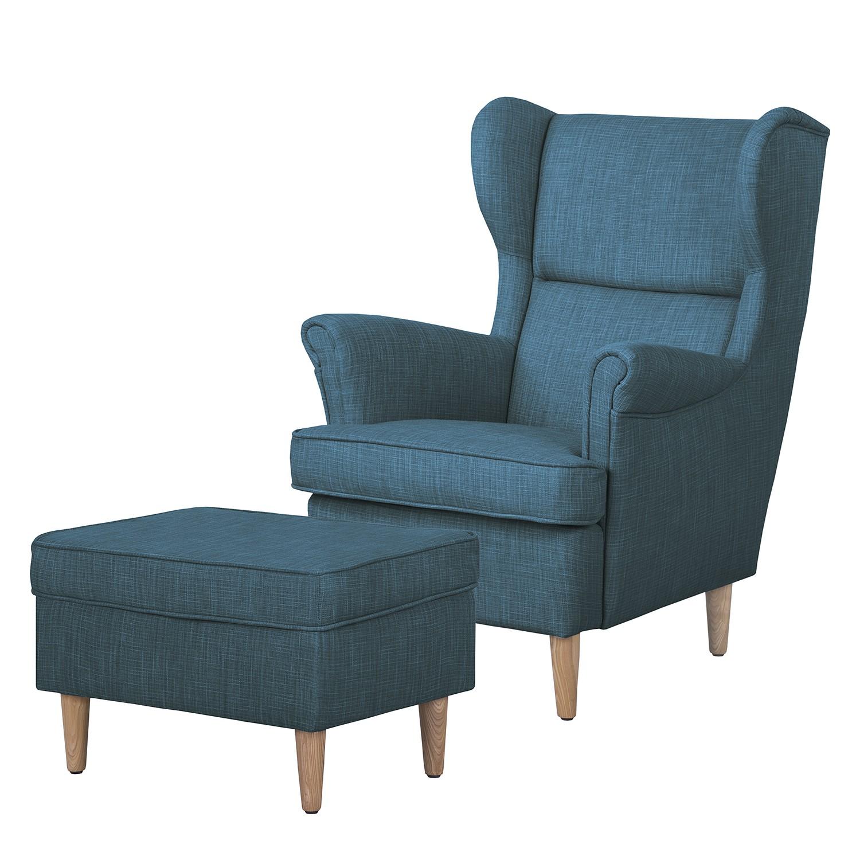 home24 Ohrensessel Juna I Webstoff | Wohnzimmer > Sessel | Blau | Textil | Moerteens