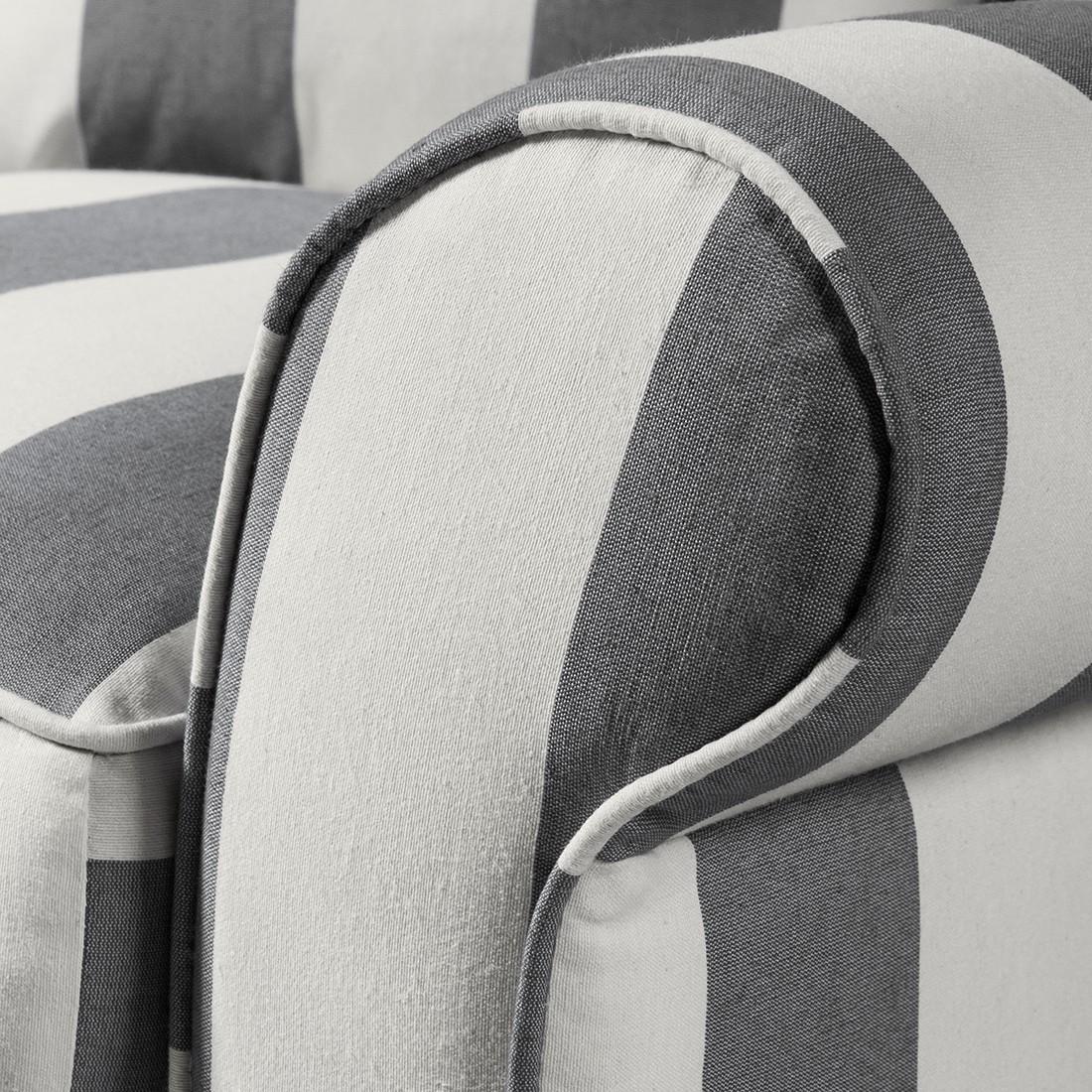 Ohrensessel COLMAR XXL - Webstoff Grau / Weiß