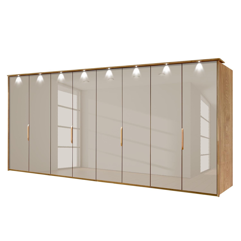 goedkoop energie A+ Kledingkast Torino deels massief eikenhout Met verlichting 400cm 8 deurs Saharakleurig Met verlichte Passe partout lijst Wiemann
