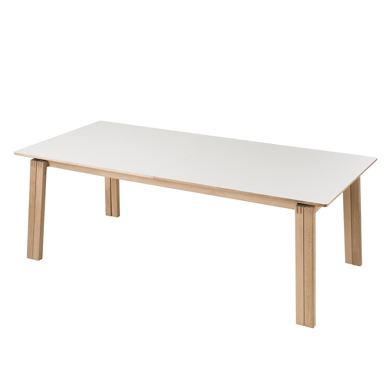 Table à manger Liendo II (avec rallonge) - Partiellement en bois massif - Blanc / Chêne clair, Studio Copenhagen