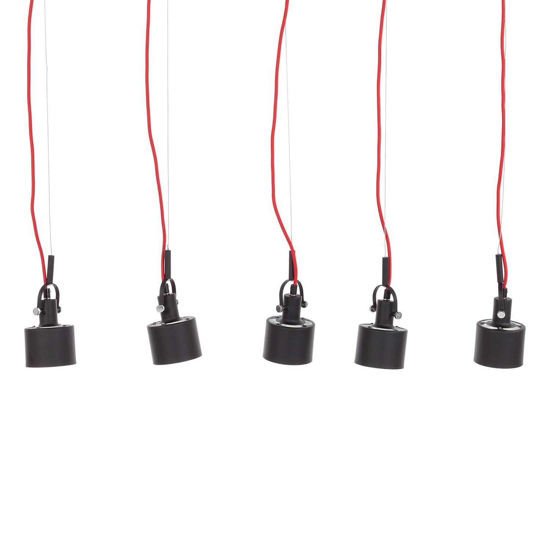 energie A++, Hanglamp Buzzwire zwart-rood 5 lichtbronnen, Loistaa