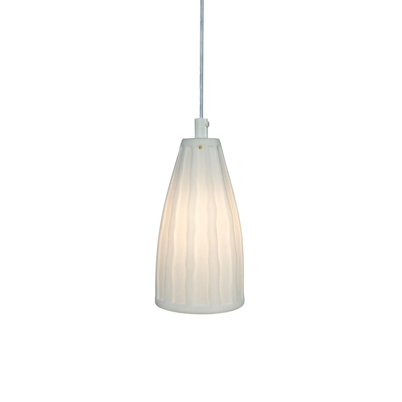 Näve Pendelleuchte Keramik Weiß Landhaus Ø 9 cm 1-flammig E14, Näve
