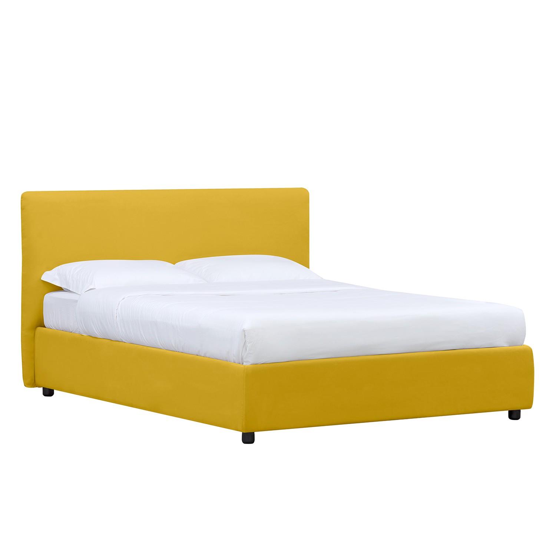 goedkoop Gestoffeerd bed Alessio inclusief opbergruimte 90 x 200cm Met bedlade Stof Valona Mosterdgeel Studio Copenhagen