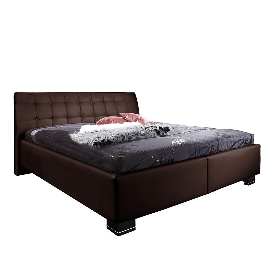 goedkoop Bed Aline kunstleer 180 x 200cm Bonell onderveringmatras incl. lattenbodem met 13 latten Bruin Monaco