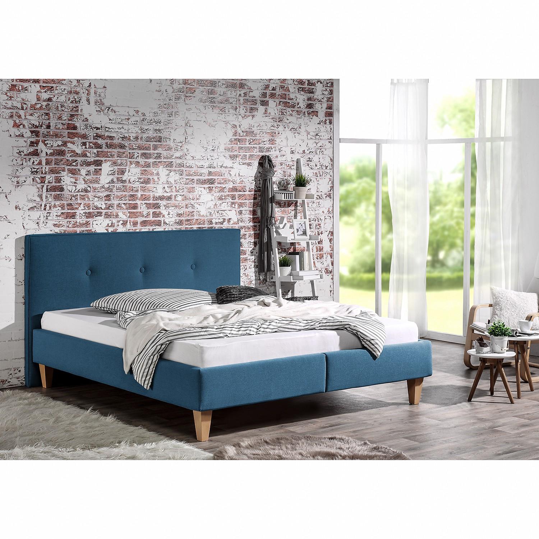 home24 Polsterbett Alnarp Strukturstoff | Schlafzimmer > Betten > Polsterbetten | Blau | Strukturstoff