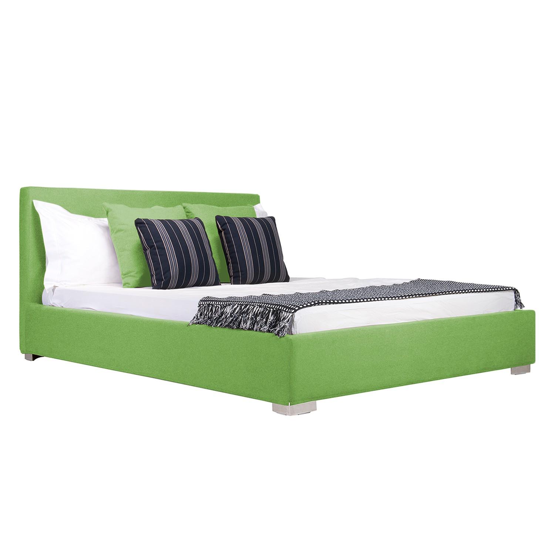 goedkoop Gestoffeerd bed Aralia I geweven stof 140 x 200cm Met bedlade Ronde voet Stof Floreana Groen Studio Copenhagen
