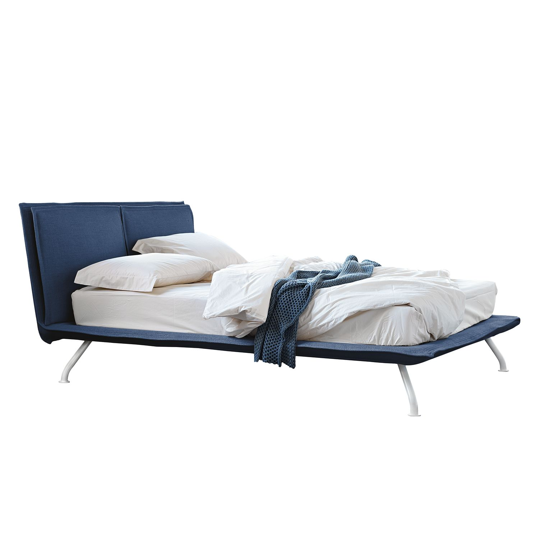 goedkoop Gestoffeerd bed Arling katoen 180 x 200cm Donkerblauw reconcept