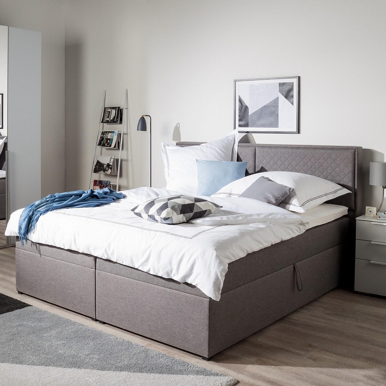 home24 Polsterbett KiYDOO 140x200 cm Webstoff Grau mit Bettkasten/Matratze/Kaltschaumtopper Modern