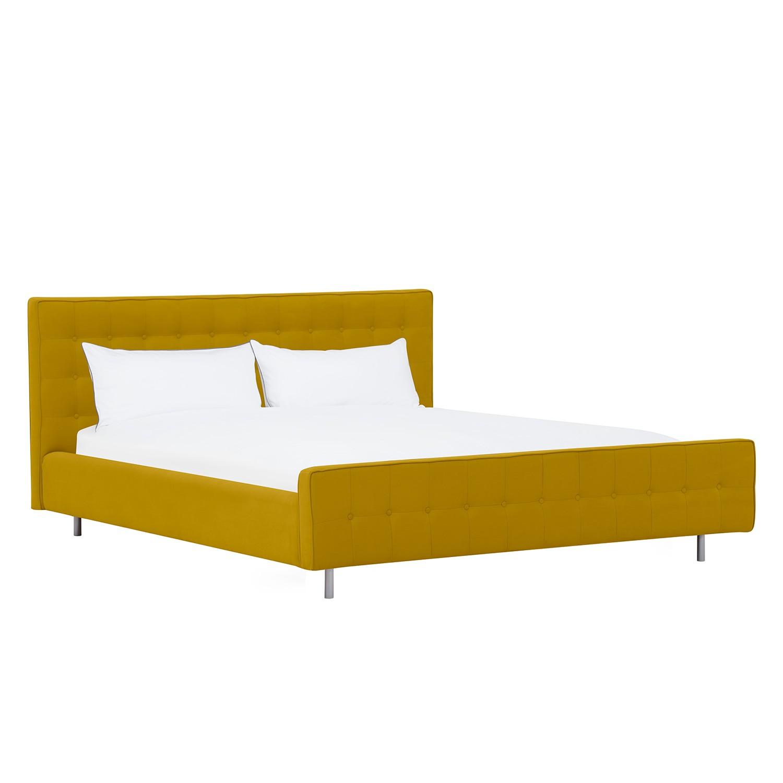 goedkoop Gestoffeerd bed Chelsea 90 x 200cm Stof Valona Mosterdgeel Fredriks