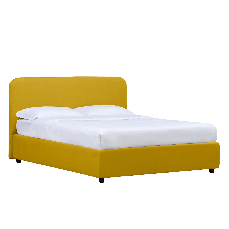 goedkoop Gestoffeerd bed Chiara 180 x 200cm Met bedlade Stof Valona Mosterdgeel Studio Copenhagen
