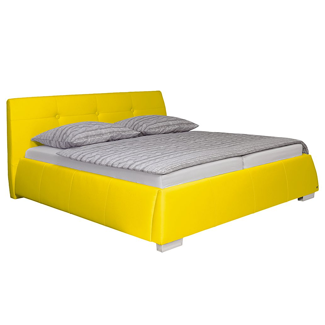 goedkoop Gestoffeerd bed Classic Button kunstleer 140 x 200cm H2 tot 80kg Ton pocketveringmatras Geel Tom Tailor
