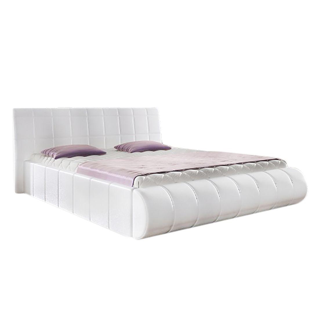 goedkoop Gestoffeerd bed Elisse inclusief bedlades kunstleer wit 140 x 200cm roomscape
