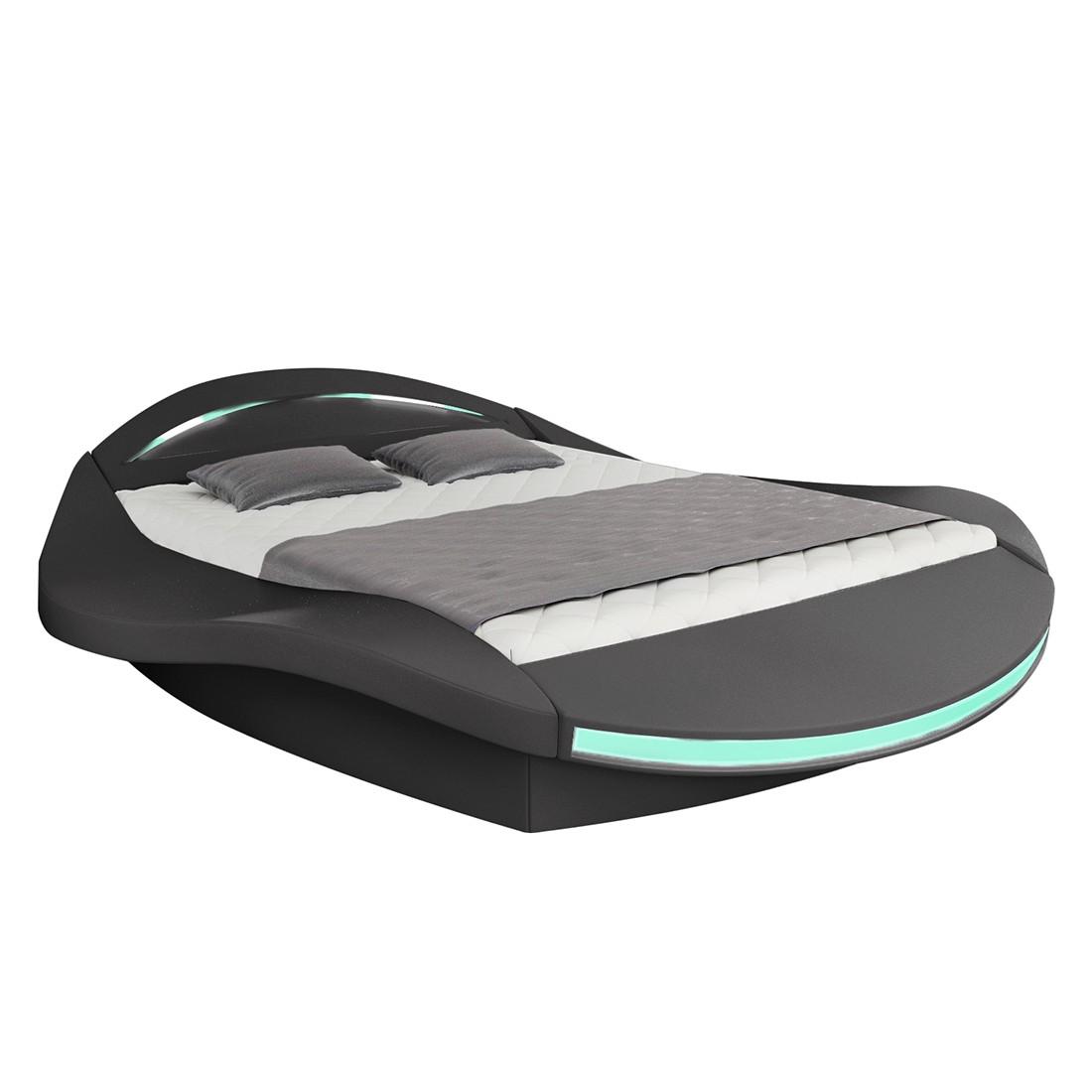 goedkoop energie A+ Gestoffeerd bed Butterfly kunstleer 140 x 200cm Bedframe zonder matras & lattenbodem Zwart roomscape