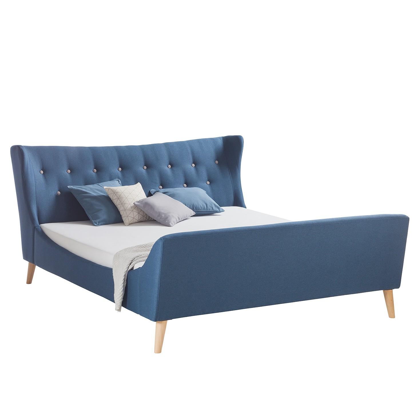 Lit capitonné Kamma - Tissu - 140 x 200cm - Bleu foncé, Morteens