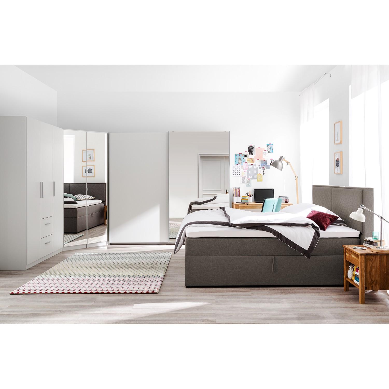 home24 Polsterbett KiYDOO 180x200 cm Webstoff Espresso mit Bettkasten/Matratze/Kaltschaumtopper Modern
