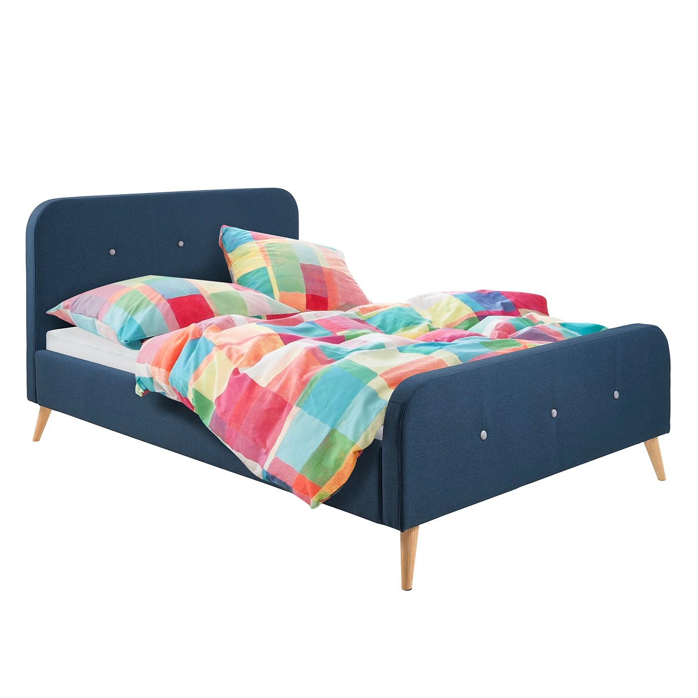 goedkoop Gestoffeerd bed Klink geweven stof 160 x 200cm Donkerblauw Morteens