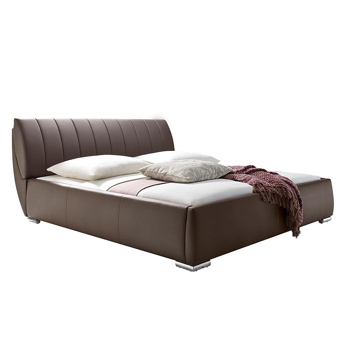 goedkoop Gestoffeerd bed Luna kunstleer 200 x 200cm Met matras Bruin meise möbel