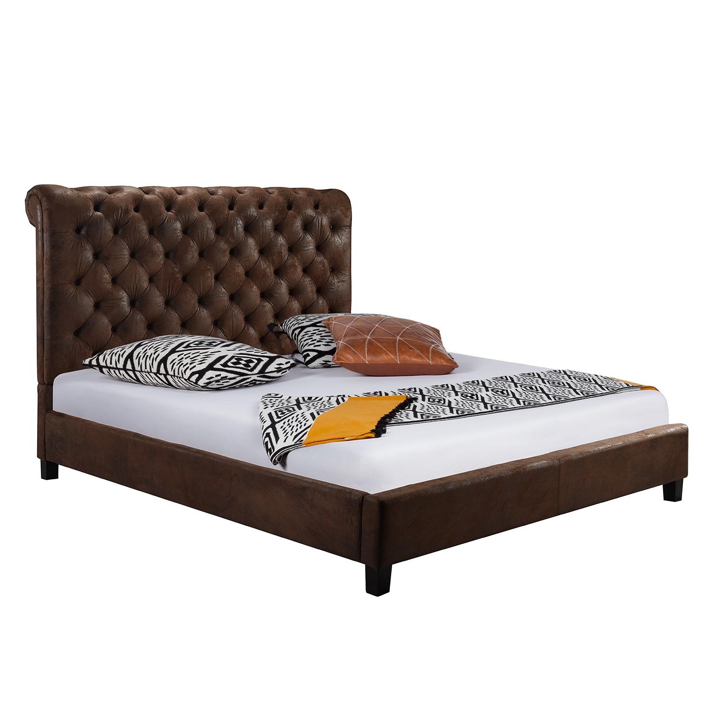 goedkoop Gestoffeerd bed Lyons incl. lattenbodem microvezel 140 x 200cm Maison Belfort