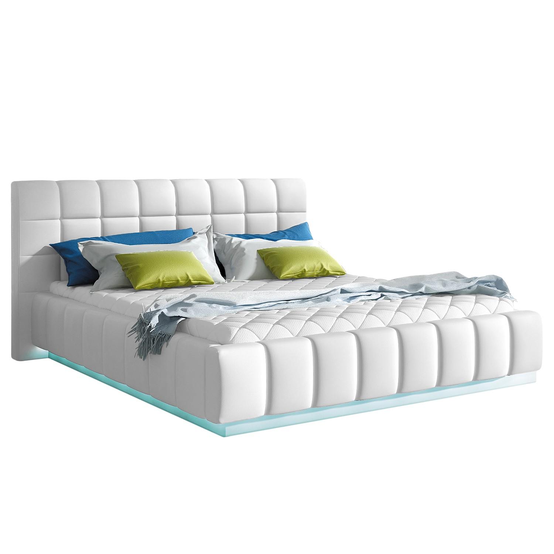 goedkoop energie A+ Gestoffeerd bed Alaska I incl. verlichting kunstleer wit Geen bedlade Fredriks