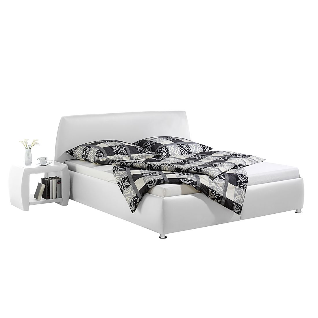 Polsterbett Mio Kunstleder - 160 x 200cm - Bettgestell ohne Matratze & Lattenrost - Weiß, Monaco