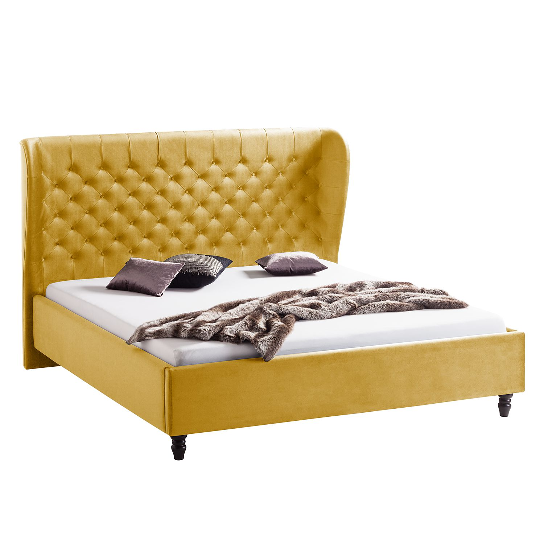 goedkoop Gestoffeerd bed Monroe fluweel 140 x 200cm Mosterdgeel Jack and Alice