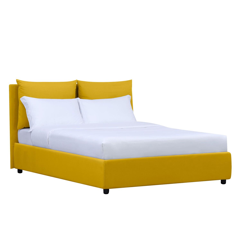 goedkoop Gestoffeerd bed Noemi inclusief opbergruimte 90 x 200cm Stof Valona Mosterdgeel Studio Copenhagen