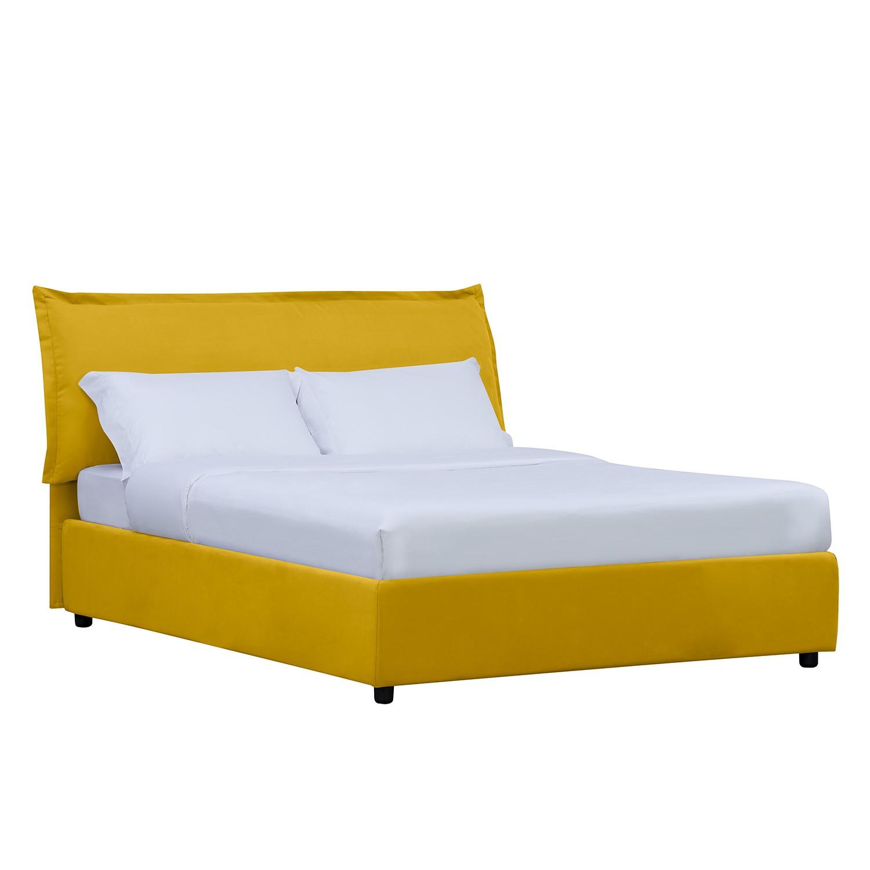 goedkoop Gestoffeerd bed Paola inclusief opbergruimte 160 x 200cm Stof Valona Mosterdgeel Studio Copenhagen