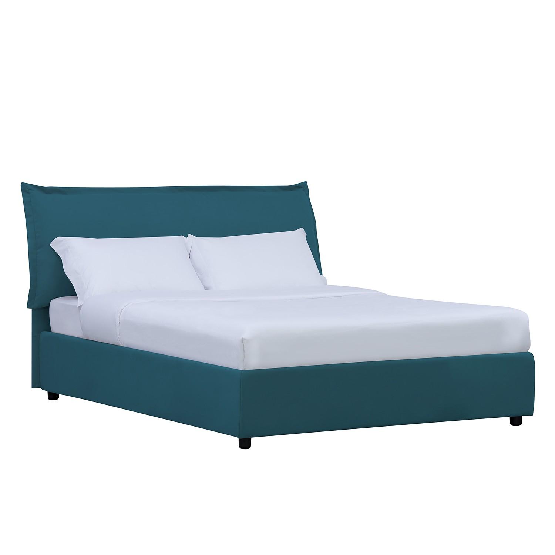 goedkoop Gestoffeerd bed Paola inclusief opbergruimte 90 x 200cm Stof Valona Petrolblauw Studio Copenhagen