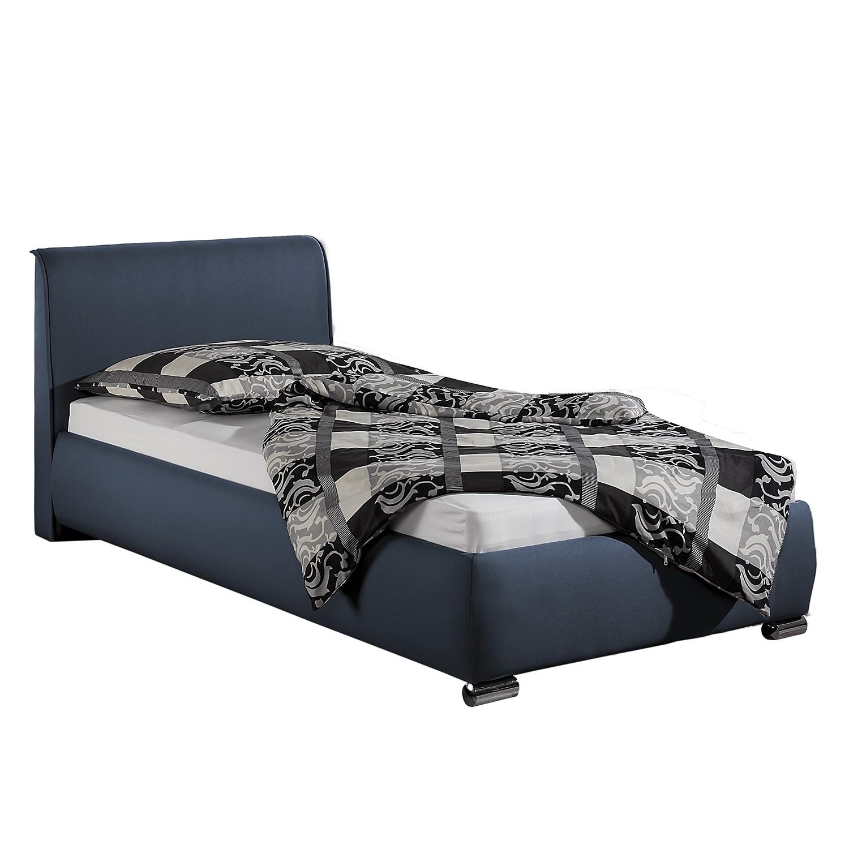 home24 loftscape Polsterbett Sigtuna 100x200 cm Strukturstoff Dunkelblau mit Bettkasten Modern
