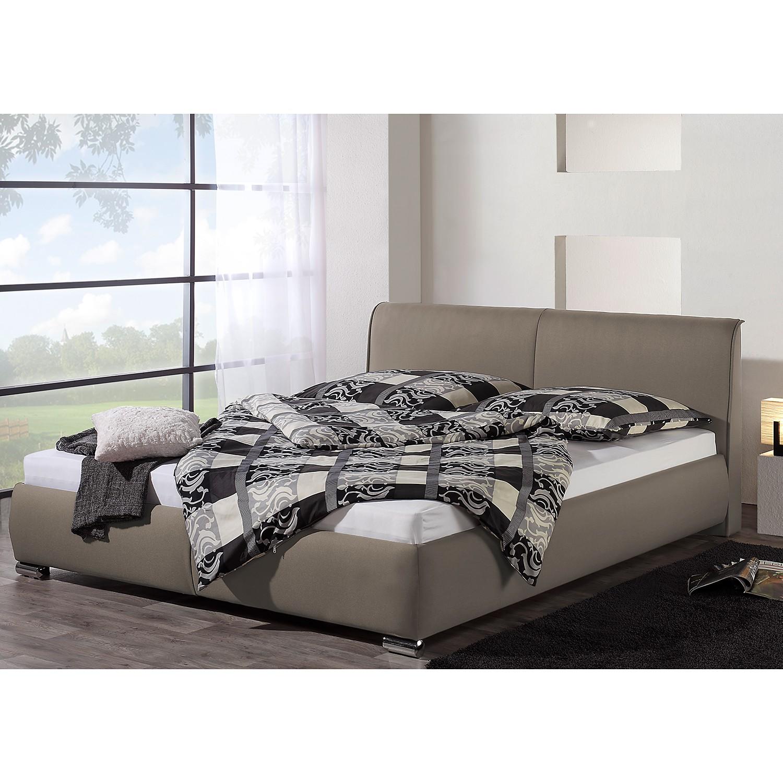 home24 loftscape Polsterbett Sigtuna 200x200 cm Strukturstoff Taupe mit Bettkasten Modern