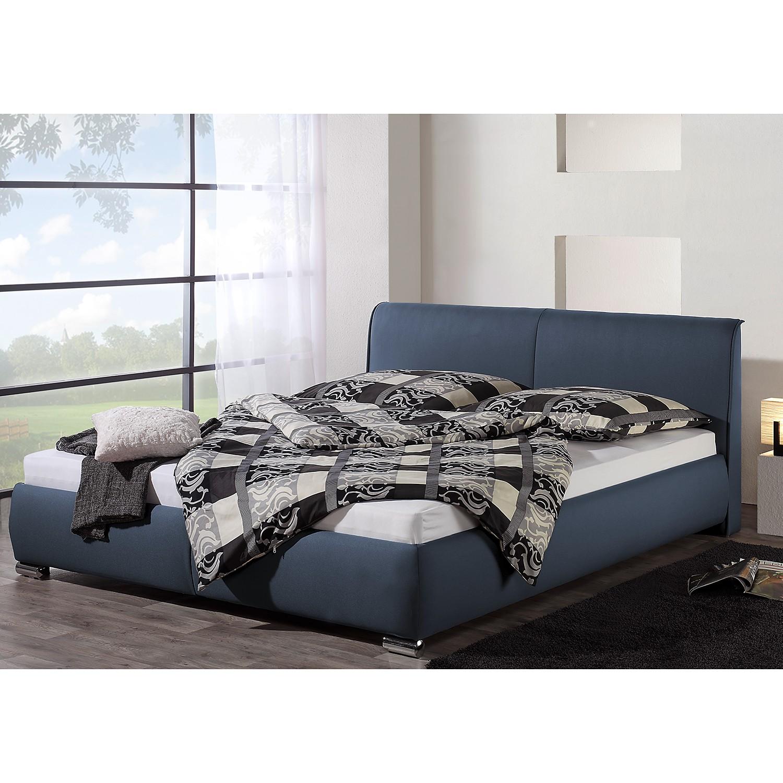 home24 loftscape Polsterbett Sigtuna 180x200 cm Strukturstoff Dunkelblau mit Bettkasten Modern