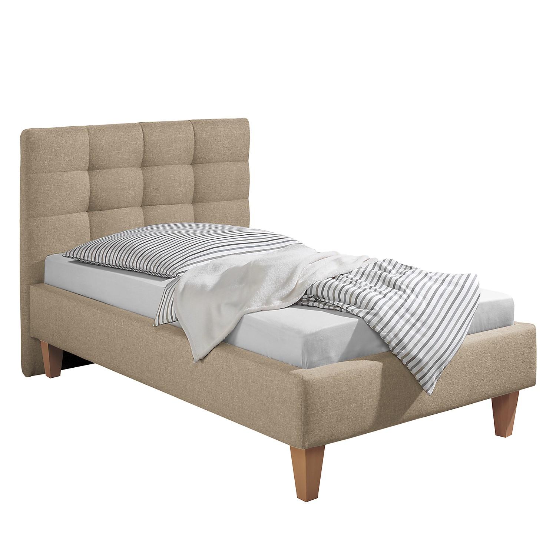 goedkoop Gestoffeerd bed Stensborg structuurstof 100 x 200cm Bedframe zonder matras & lattenbodem Beige Morteens