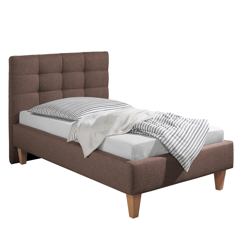 goedkoop Gestoffeerd bed Stensborg structuurstof 100 x 200cm Bedframe zonder matras & lattenbodem Bruin Morteens