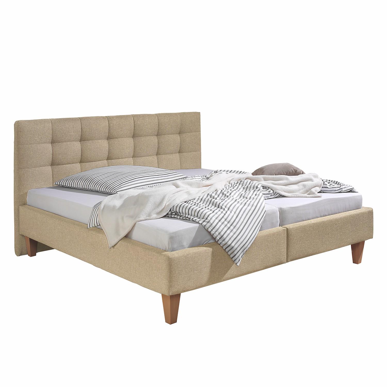 goedkoop Gestoffeerd bed Stensborg structuurstof 160 x 200cm Bedframe zonder matras & lattenbodem Beige Morteens